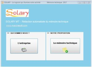 La redaction du mémoire technique par le logiciel SOLARY MT